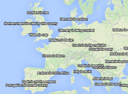 Western Europe as seen by the Yahoo! autocomplete algorithm